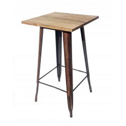 Mesa Tolix Alta madera rosillo
