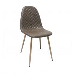 silla tapizada polipiel color topo rombos