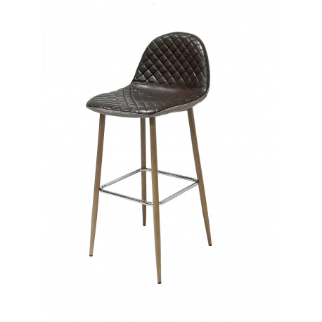STOOL MOON LEATHER COFFEE AND FABRIC
