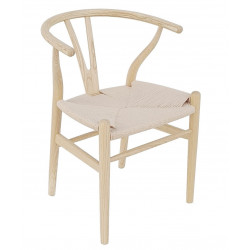 Silla Wishbone natural replica asiento trenzado