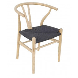 Silla Wishbone asiento trenzado negro