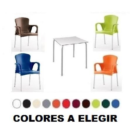CONJUNTO Nº 20 terraza exterior sillas mesas plastico compacto aluminio
