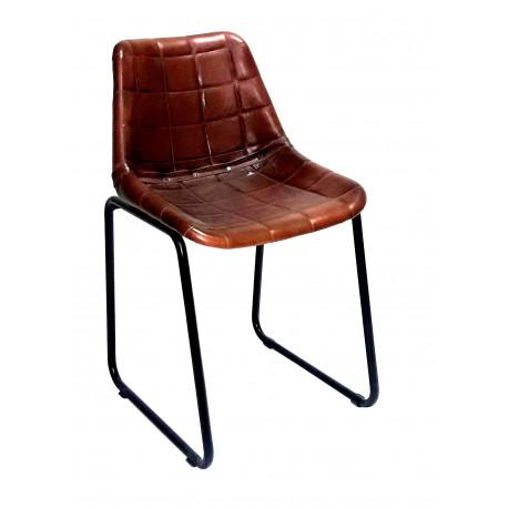 rosillo silla chess vintage industrial piel cuero