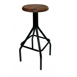Taburete London madera rosillo vintage industrial