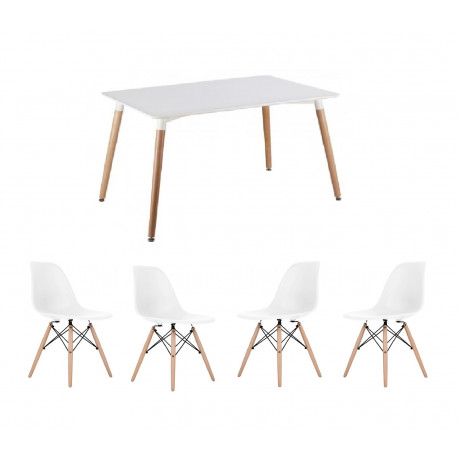 CONJUNTO sillas y mesa color blanco 130x80 120x80 replica eames