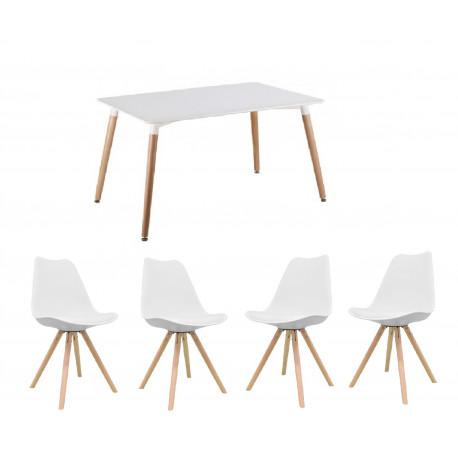 Conjunto de sillas y mesa color blanco 120x80 130x80 replica eames