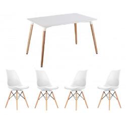 Conjunto de mesa y sillas en color blanco replica eames