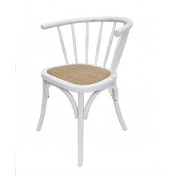 Silla Vintage madera rattan Solei Blanco Desgastado
