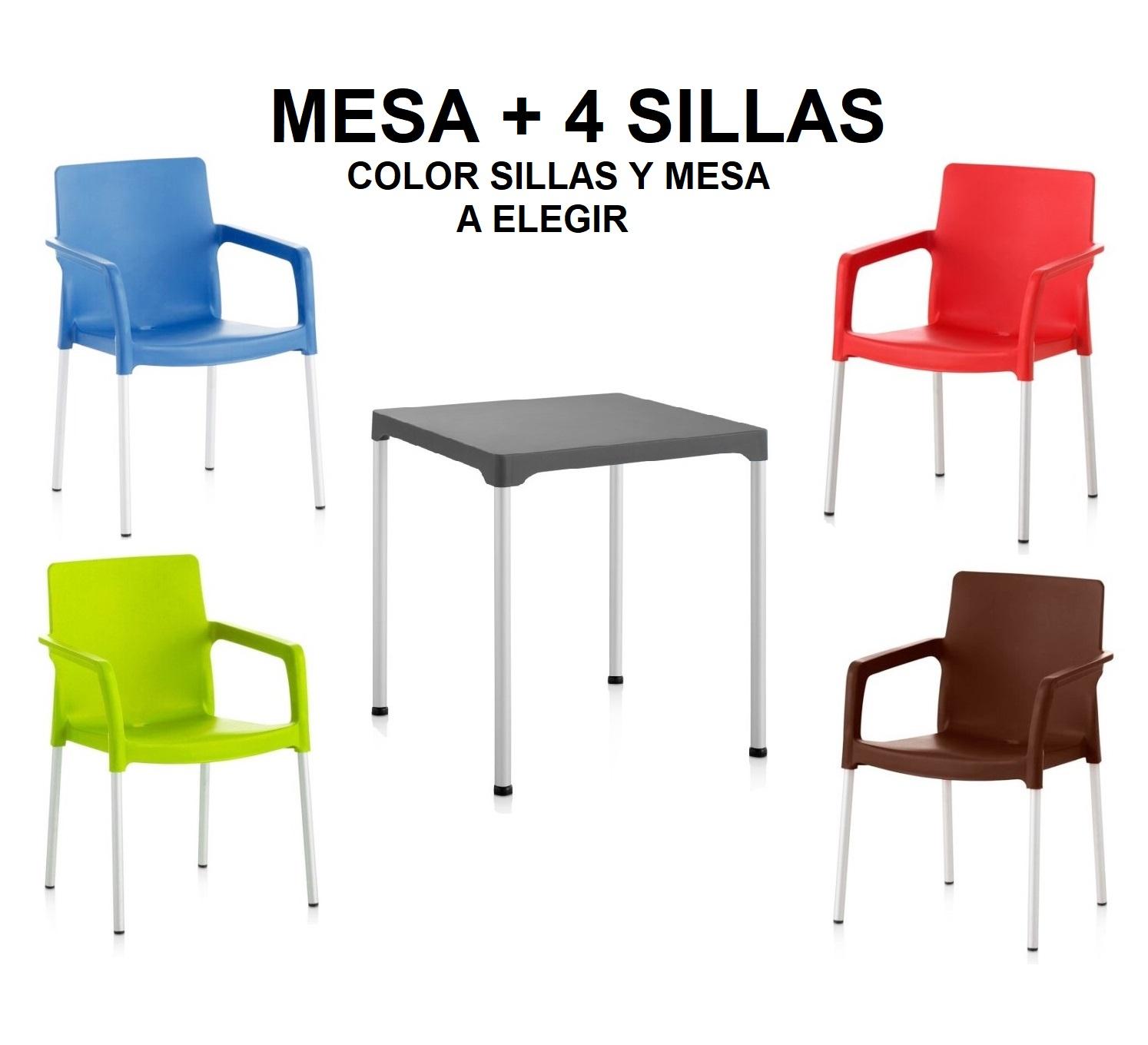 Sillas y mesas terraza bar colores plastico