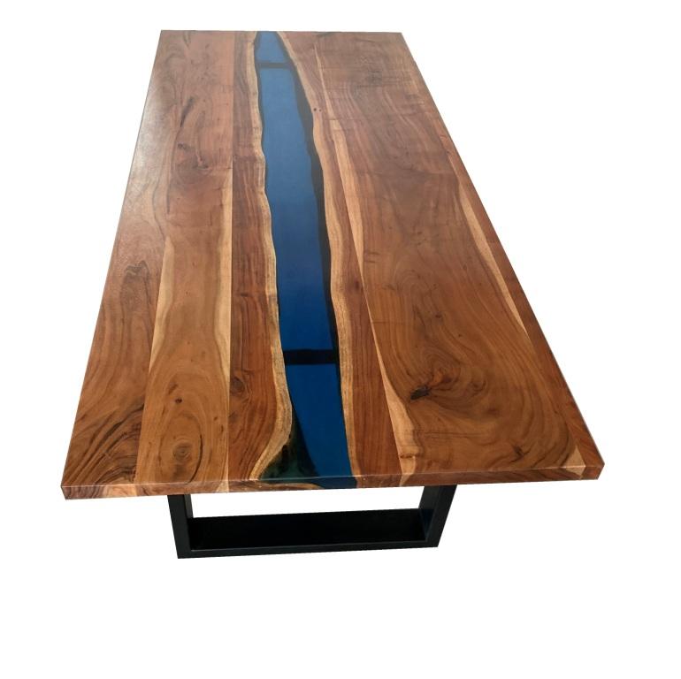 mesa rio epoxi resina azul verde